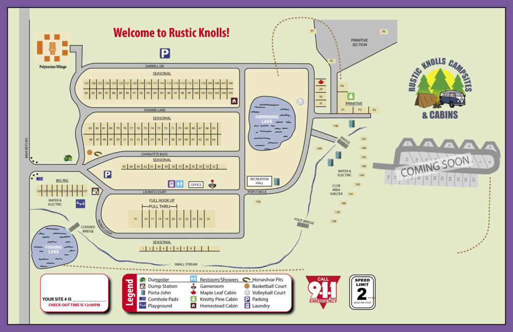 Rustic Knolls Campground Site Map